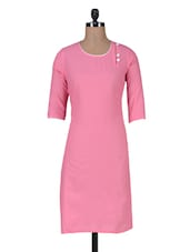Pink Plain Cotton Kurti - By