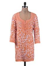 Orange Printed Cotton Short Kurti - By