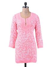 Pink Printed Cotton Short Kurti - By
