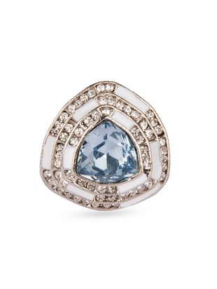 silver alloy blue stone ring