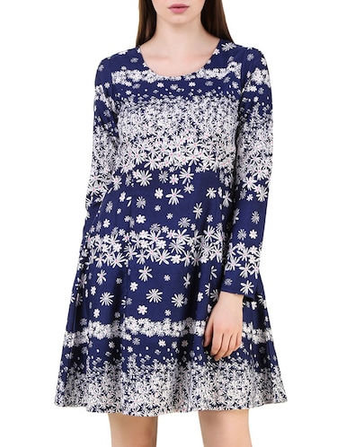 69488f0269 Buy The Vanca Sky Blue Printed And Gathered Poly Georgette Skater ...