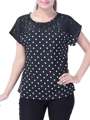 black printed poly crepe top