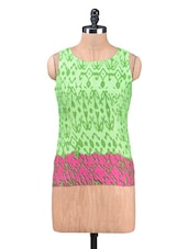 Green And Pink Cotton Printed Top - By