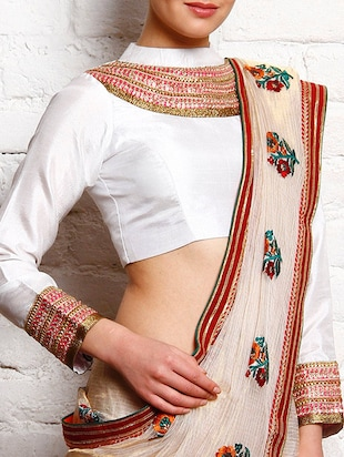 White dupion embroidered stitched blouse
