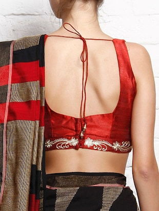 Red dupion embroidered sleeveless blouse - 12095431 - Standard Image - 2
