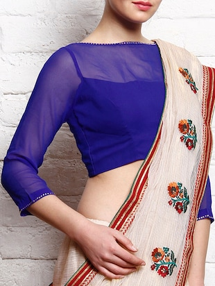 Royal blue georgette three-quarter sleeved stitched blouse