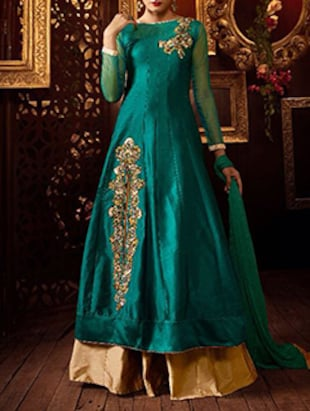 green chiffon anarkali suits semistitched suit