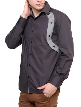 grey cotton casual shirt - 12096558 - Standard Image - 2