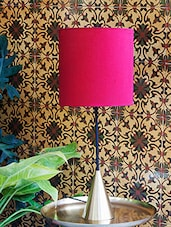 Red And Conical Brass Table Lamp - By