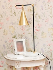 Gold Table Lamp With Marble Base - By