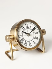Antique Gold Table Clock With Stand - By