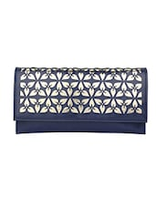 Navy Blue Leatherette Textured Clutch - By