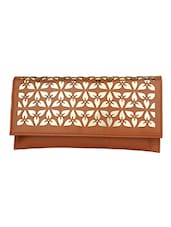 Tan Leatherette Textured Clutch - By