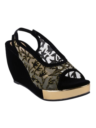 black fabric  wedge