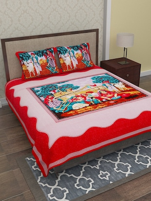 red graphic print cotton bed sheet set