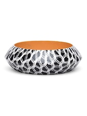 Black And White Wooden Printed Bangle - By