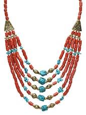 Multicolor Acrylic Metallic Corals Necklace - By