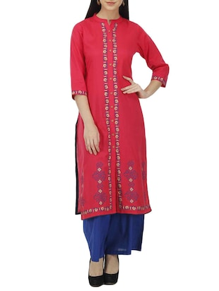pink cotton straight kurti