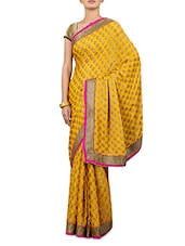 Embroidered Mustard Yellow Saree - By