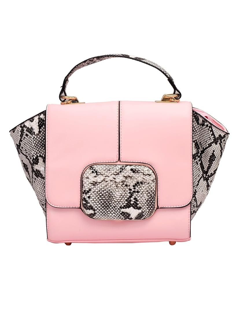 Pink Snake Skin Printed Leatherette Hand Held Bag - By