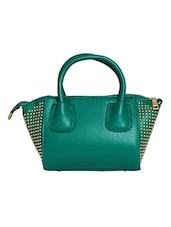 Green Leatherette Hand Held Bag - By