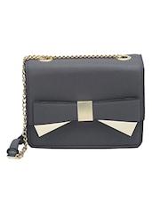 Black Leatherette Sling Bag - By