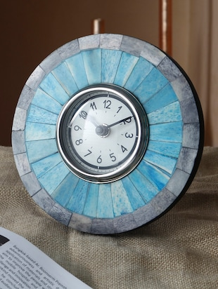 blue metal table clock