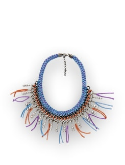 Blue And Peach Knotted Necklace - Accessory Bug