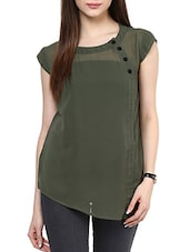solid green georgette top -  online shopping for Tops