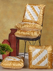 Gold Poly Cotton Cushion Covers (Set Of 5) - Desi Connection