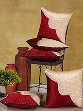 Red Poly Cotton Cushion Covers (Set Of 5) - Desi Connection