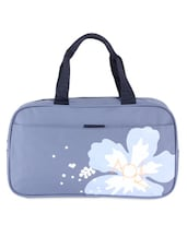 Light Blue Faux Leather Printed Travel Bag - KIARA