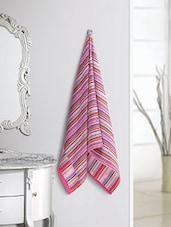 Pink Striped 100% Cotton Bath Towel - By