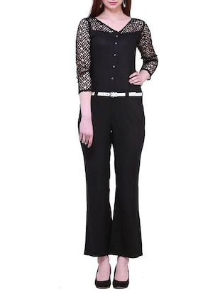 solid black viscose full leg jumpsuit