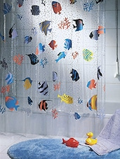 Multicolor printed PVC 1 piece shower curtain -  online shopping for shower curtains