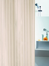 Cream Printed Polyester 1 Piece Shower Curtain - By