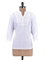 Solid White Cotton Top  With Lace Trim - By