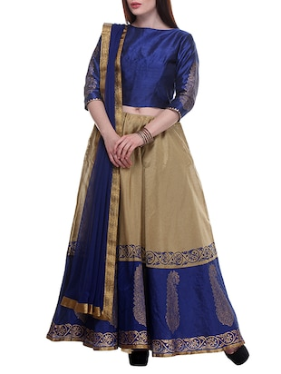 Royal Blue Hand Block Printed Unstitched Lehenga