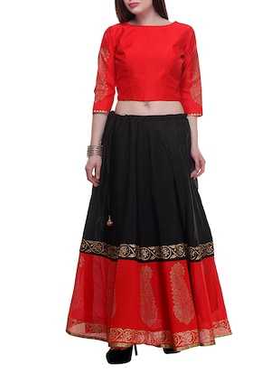 Red Hand Block Printed Lehenga Set