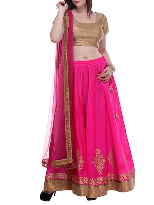 Pink Hand Block Printed Unstitched Lehenga