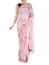 Baby Pink Floral Print Saree - By