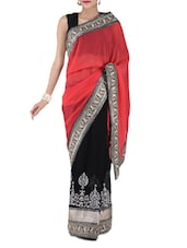 Coral And Black Embroidered Georgette Saree - By