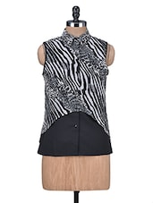 Black And Grey Printed Sleeveless Top - By