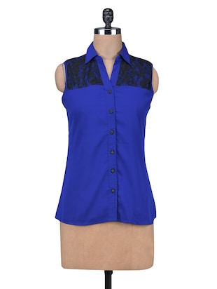 Blue Polycrepe Sleeveless Laced Top