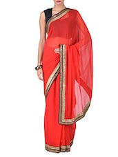 Red Georgette Saree With Sequined Border - By