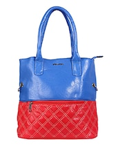 Red And Blue Zippered Handbag - By
