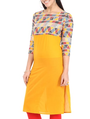 yellow cotton straight kurta - 12149699 - Standard Image - 2