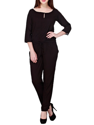 d46e1d8e9791 Buy Black Printed Three Quarter Sleeved Jumpsuit for Women from ...