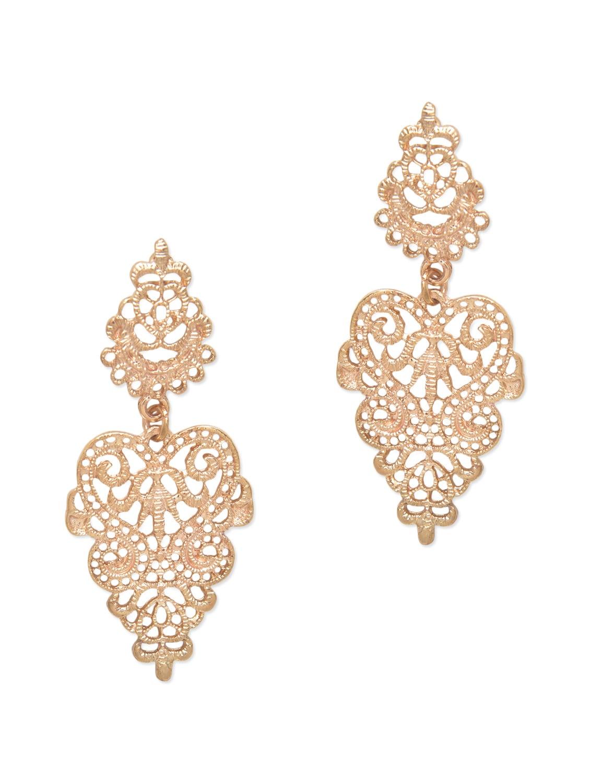 Gold Metallic Drop Earrings - By