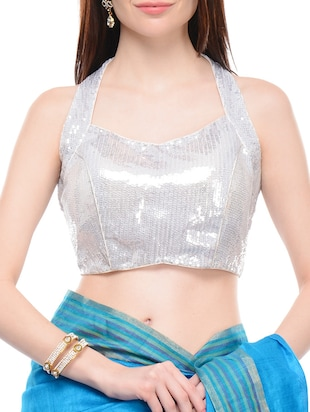 Silver georgette sequined sleeveless blouse